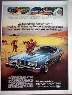 1972 blue Mercury MONTEGO Car horses vintage ad