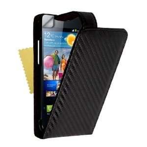 Black Carbon Fibre Leather Flip Case Cover With Magnetic