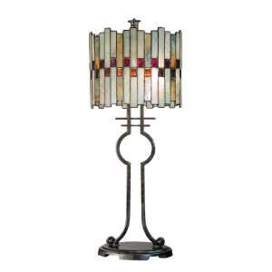 Dale Tiffany TT101014 Haskey Table Lamp, Antique Bronze and Art Glass