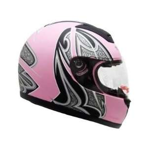 Tms Matte Pink Motorcycle Full Face Street Helmet Scooter