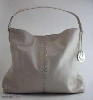 Michael KORS White ASTOR Studded LEATHER Large Shoulder Hobo Bag