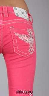 Miss Me Jeans Capris Rhinestone Floating Wing Melon Crop Pant