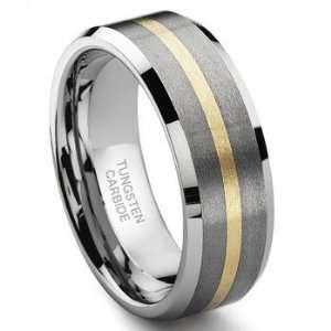 Tungsten Carbide 14K Gold Inlay Wedding Band Ring Sz 13.0 SN#384