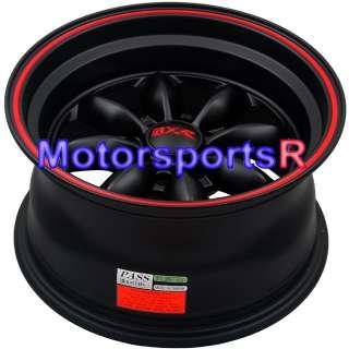 16 8 XXR 513 Black Red Stripe Rims 90 0005 Mazda Miata
