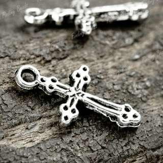 100* Tibetan Silver Jesus Cross Charms Pendant TS0129