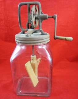 Antique GLASS BUTTER CHURN Hand Crank 4 Qt FOUR QUART WOODEN WORKING