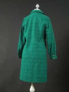 vtg 60s mod green shirt dress gold buttons S