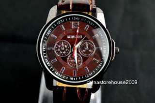 Brown Fashion Style Man Lady Unisex Gift Leather Sport Quartz