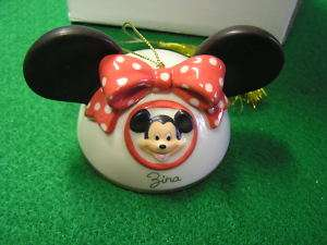 LENOX Disney Ornament  Mickey Mouse Ears Girl Zina