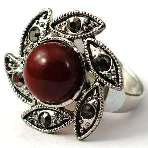 Size 10 Red Tibet Silver Flower Shape Gemstone Diamante CZ Finger Ring