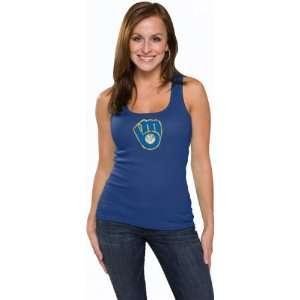 Milwaukee Brewers Womens Primary Logo Fashion Rib Tank