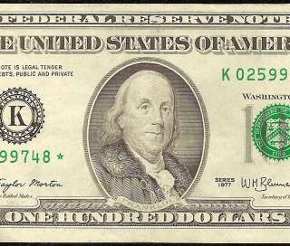 EF/AU 1977 $100 DOLLAR BILL FEDERAL RESERVE STAR NOTE Fr 2168 K