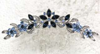 NAVY BLUE RHINESTONE CRYSTAL HAIR COMB 4 WEDDING PROM PARTY C28