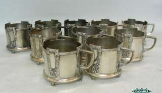 WMF Silver Plated 10 Glass Holders Set Germany Ca 1900