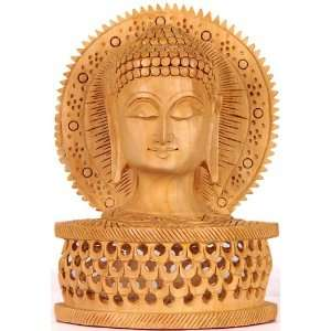 Buddha Head with Aureole   Wood Sculpture Home & Kitchen