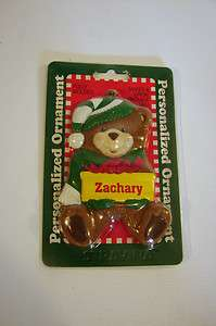 Boy Christmas Ornament Teddy Bear Personalized Name Zachary Gift Tag