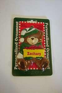 Boy Christmas Ornament Teddy Bear Personalized Name Zachary Gift Tag