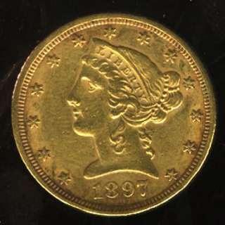 VERY NICE 1897 LIBERTY HEAD GOLD HALF EAGLE G$5  YZ120