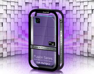 LUXMO PURPLE TURQUOISE TURTLE SHELL HYBRID CASE FOR iPHONE 4S VERIZON