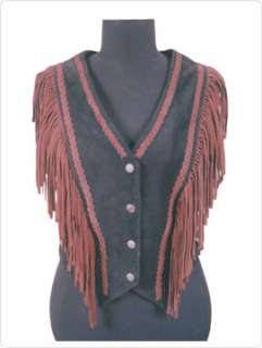Ladies Suede Western Vest With Fringes Style Fashion Indian Look Horse