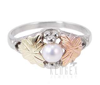 Black Hills Sterling & 12K Gold Ring w Pearl Size 8
