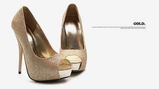 Free Ship Womens Shoes Platform Heels Glitter Stiletto