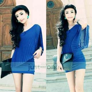 Fashion Mini Womens Single Off Shoulder Pleated Chiffon Dress blue