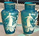 ART GLASS VASE PAIR 2 HP CAMEO STEVENS WEBB BOHEMIAN ENAMELED 13X7