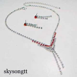 Swarovski Ruby Red Bridal Crystal Necklace Set S1691R