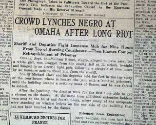 NE Race Riot NEGRO Lynching Burnt William Brown 1919 Newspaper