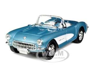 1957 CHEVROLET CORVETTE BLUE 1/24 DIECAST CAR MODEL BY ROAD SIGNATURE