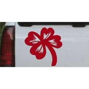 Four Leaf Clover Car Window Wall Laptop Decal Sticker    Red 10in X 10