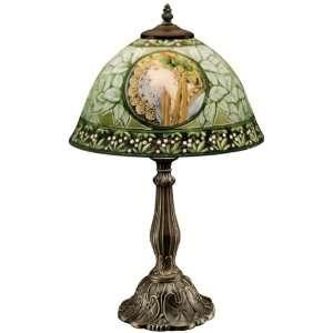 La Rousse Reverse Painted Glass Lamp