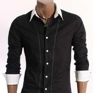 Mens Casual 2Tone Line Dress Shirts BLACK (XJ10