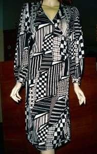 VTG Psychedelic GEOMETRIC Op Art TSEKLENIS Wrap Dress*Collectible