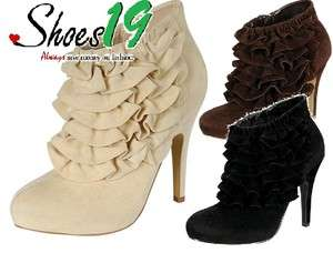 Platform Ankle High Heel Booties Faux Smooth Velvet Yama 06 Shoes