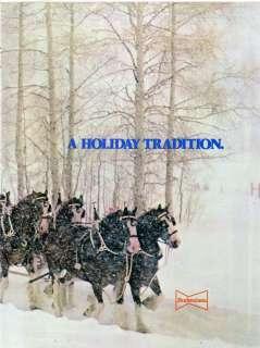 1980 BUDWEISER SNOW HORSES HOLIDAY CHRISTMAS 2pg AD