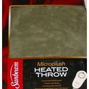 Sunbeam Heated Green Microplush Throw Blanket Electric