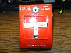 Simplex Red 2099 9783 Emergency Local Pull Down Fire Alarm Switch