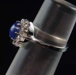 DAZZLING VINTAGE 14K WHITE GOLD STAR SAPPHIRE DIAMOND PRINCESS RING