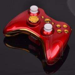 CUSTOM MODDED XBOX 360 RED AND CHROME GOLD WIRELESS CONTROLLER SHELL