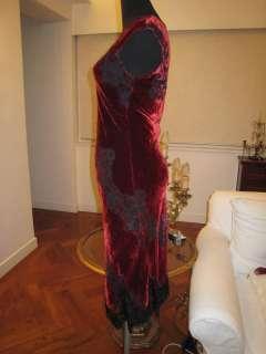 CONCHI NY BURGUNDY VELVET LACE DRESS W/SILK SCARF Sz S
