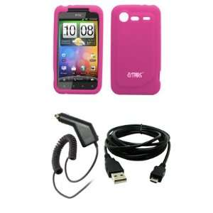 EMPIRE Hot Pink Silicone Skin Case Cover + Car Charger
