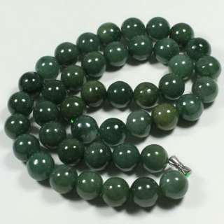 Large Round 12mm Beads Dark Green Necklace Grade A Chinese Jade
