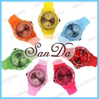 Women Size Silicon Band Unisex Sport Quartz Wrist Watch Gift 12 Colors