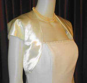 IVORY SATIN BOLERO JACKET WRAP STOLE LARGE NEW