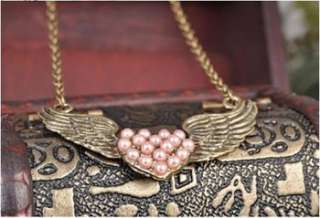 Fashion Retro Alloy Love Heart Angle Wings Necklace x14 great gift