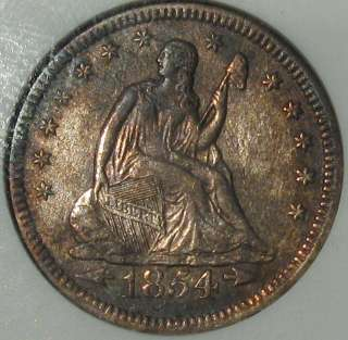 1854 O SEAT LIBERTY QUARTER SILVER DOLLAR ANA OLD COIN