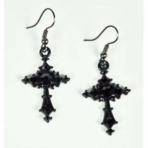 Black Cross Earrings Heavy Metal Death Punk Goth Vamp
