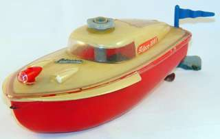 Vintage Schuco Teleco 3003 Race Speed Boat Wind up Toy